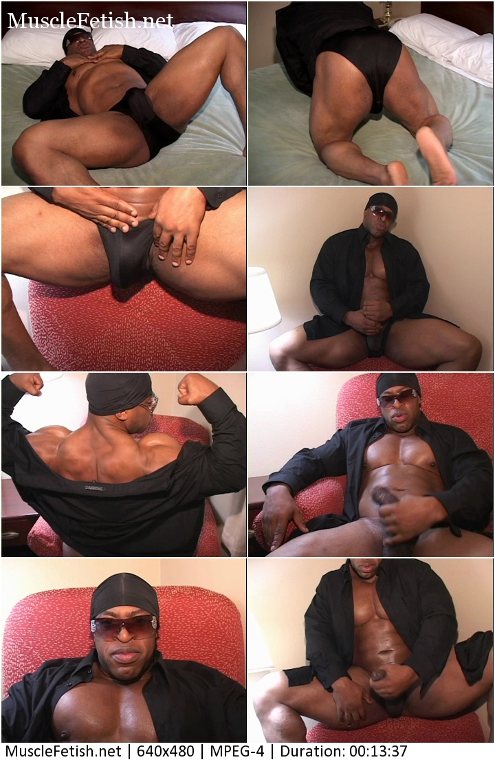 Black bodybuilder Rodney St. Cloud shows muscular ass and big black cock