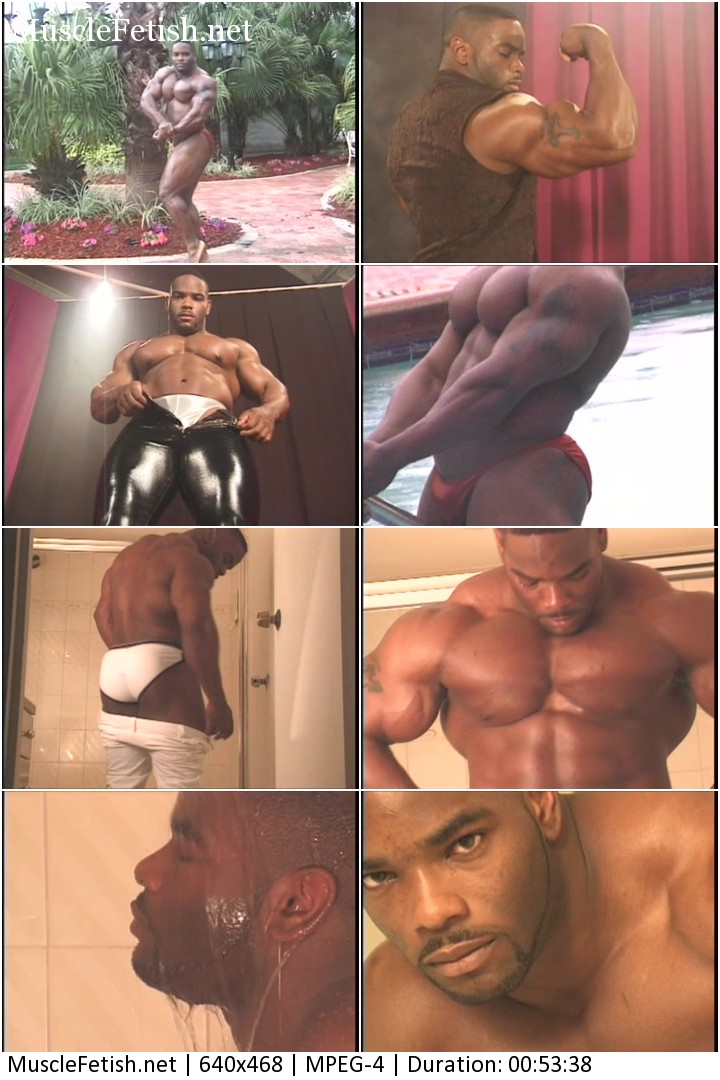 Black muscular stripper Johnnie Jackson shows his pecs, glutes and all his big muscles