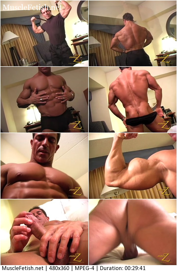 Bodybuilder Antonio from JimmyZ strips down and jerks off