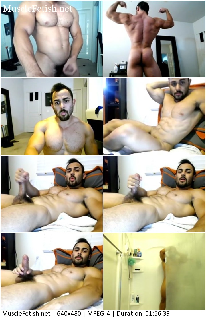 Bodybuilder Benji jerking off on cam
