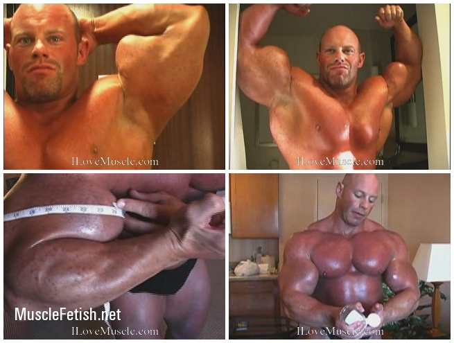 Bodybuilder Brad Hollibaugh measures huge biceps