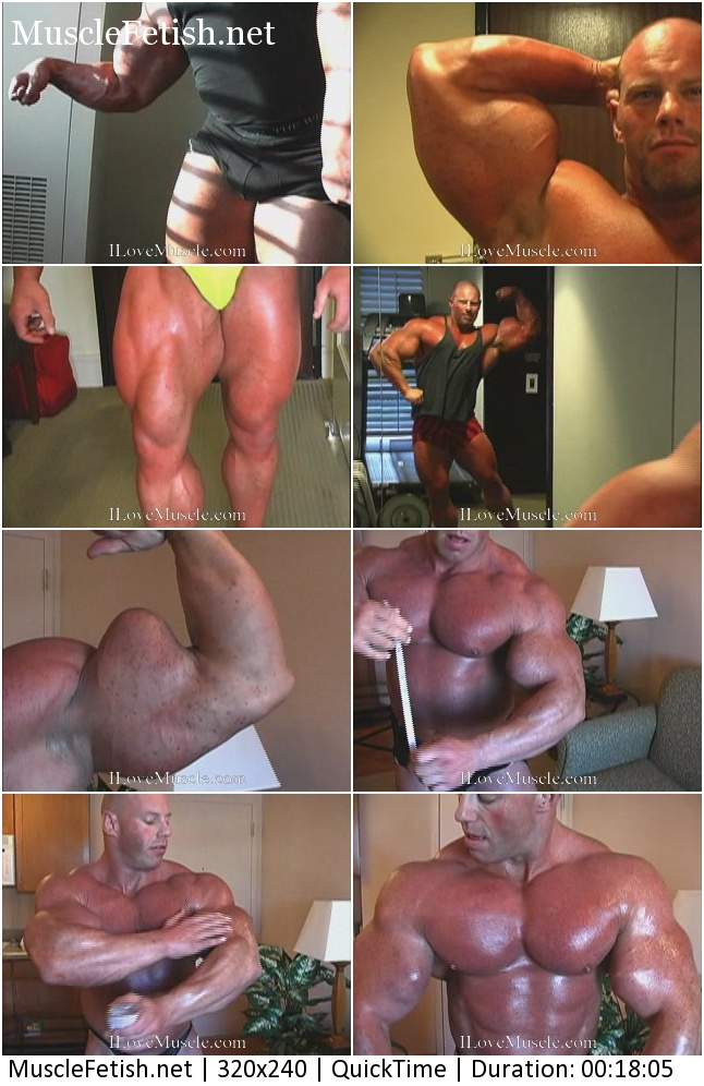 Bodybuilder Brad Hollibaugh posing and measures big biceps