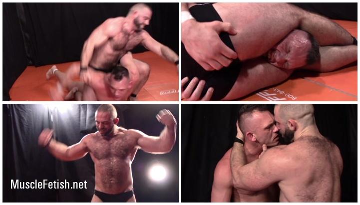 Bodybuilder Bull Barrett vs Brendan Byers - MuscleBoy Wrestling