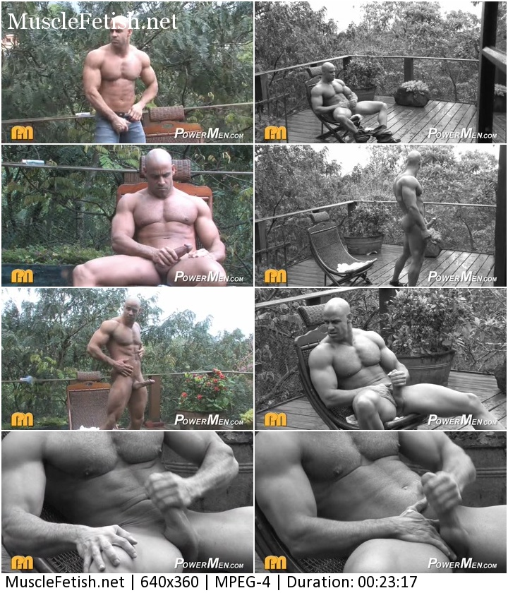 Bodybuilder Butch Branson (aka Ariel Sty) Photo Shoot from Power Men (Posing and masturbation)