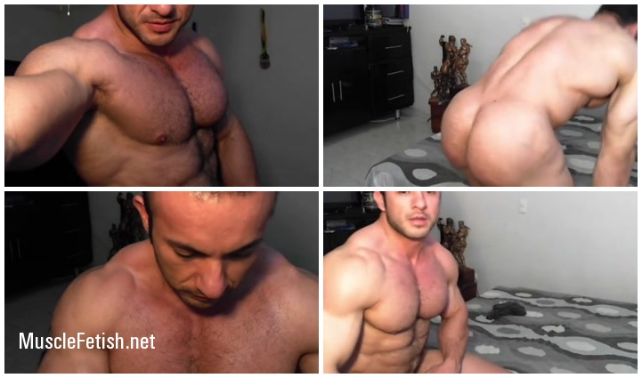 Bodybuilder Hugo Fabian Marquez enjoying himself for a client - erotic muscle show