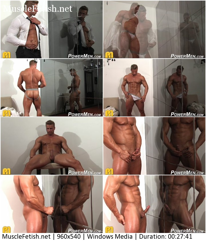 Bodybuilder Kane Griffin - muscle god from PowerMen posing naked in front of the mirror