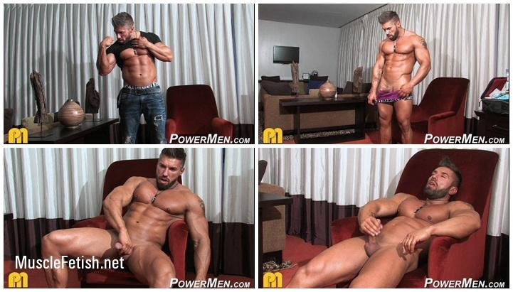 Bodybuilder Lucas Diangelo flexes and cums