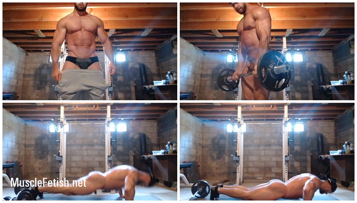 Bodybuilder Max Wood naked in the gym