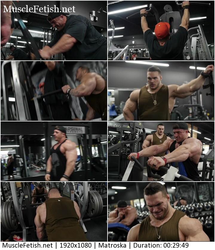 Bodybuilder Nick Walker back day with Brett Wilkin and Matt Jansen - no sex