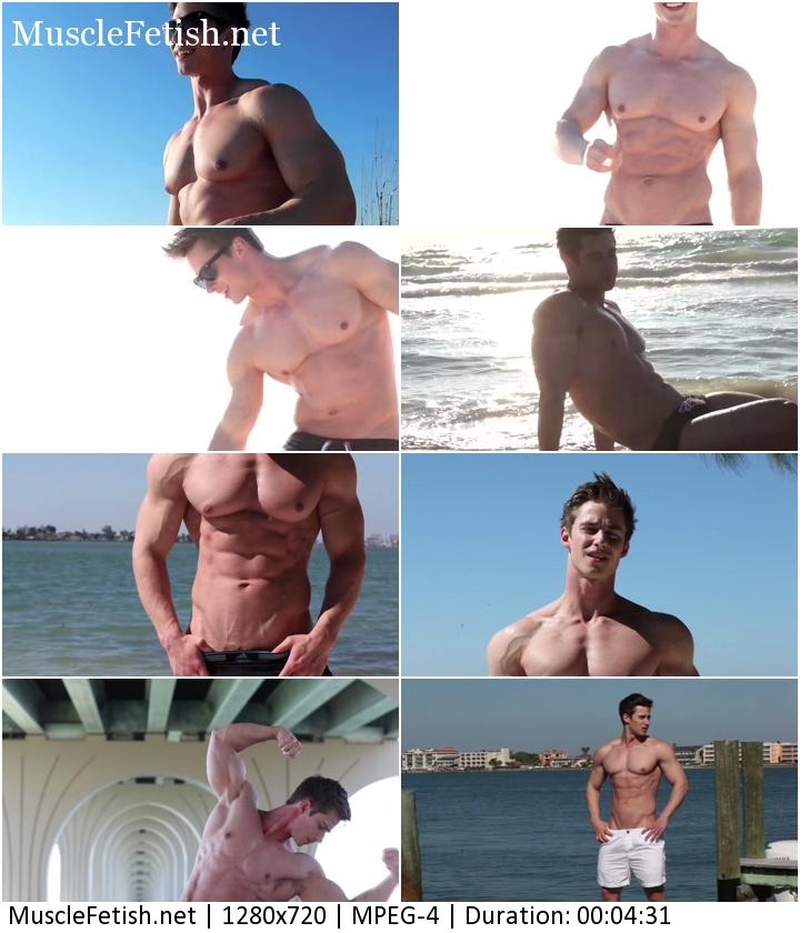 Bodybuilder Tyson posing on the beach