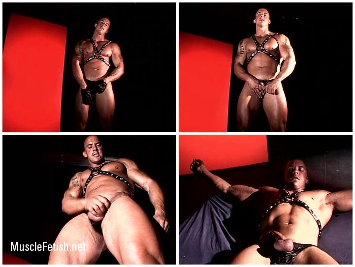 Bodybuilder Vin Marco posing in latex - Muscular Photoshoot