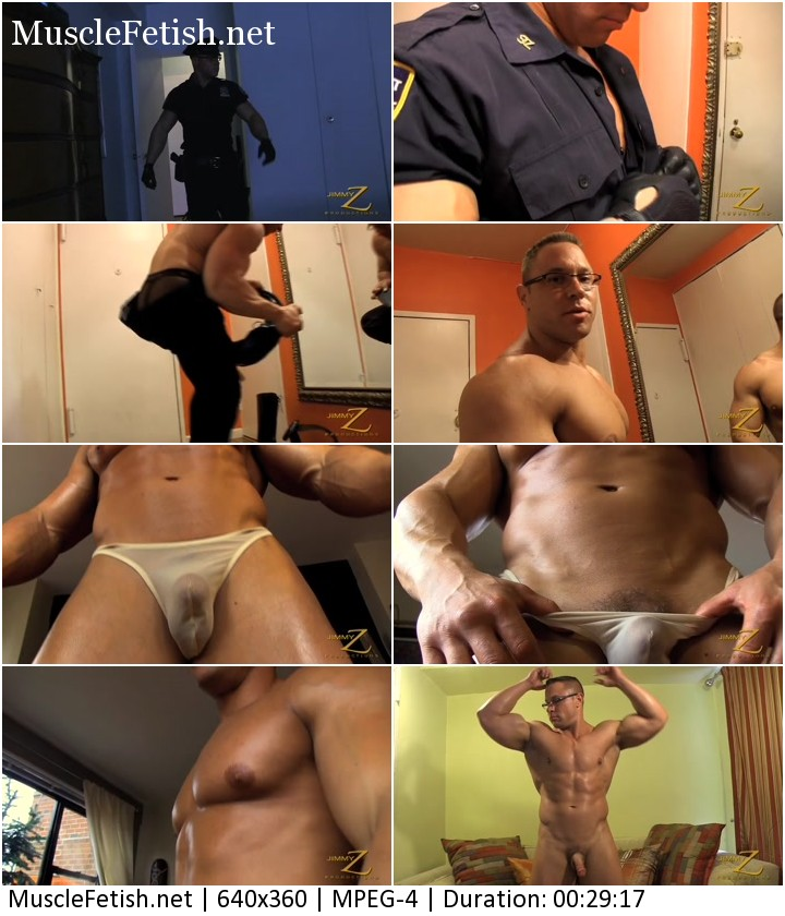 Bodybuilder officer Del Vecchio from JimmyZ strips off his uniform