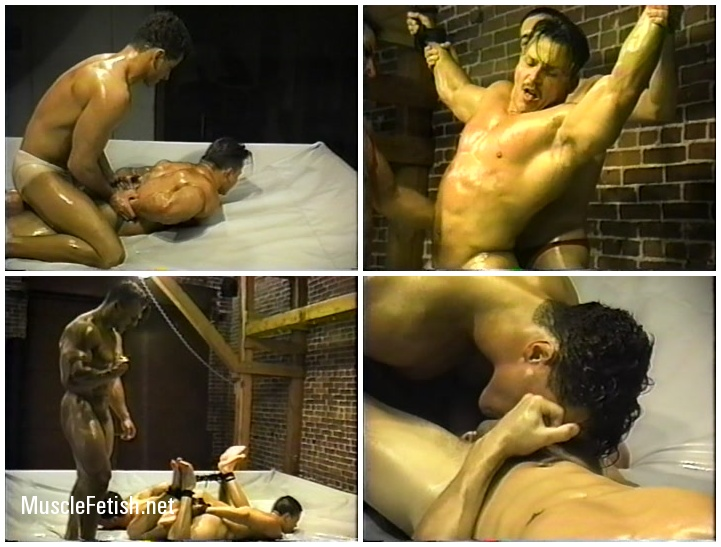 Bondage In Oil Muscle Fight - Gay Wrestling