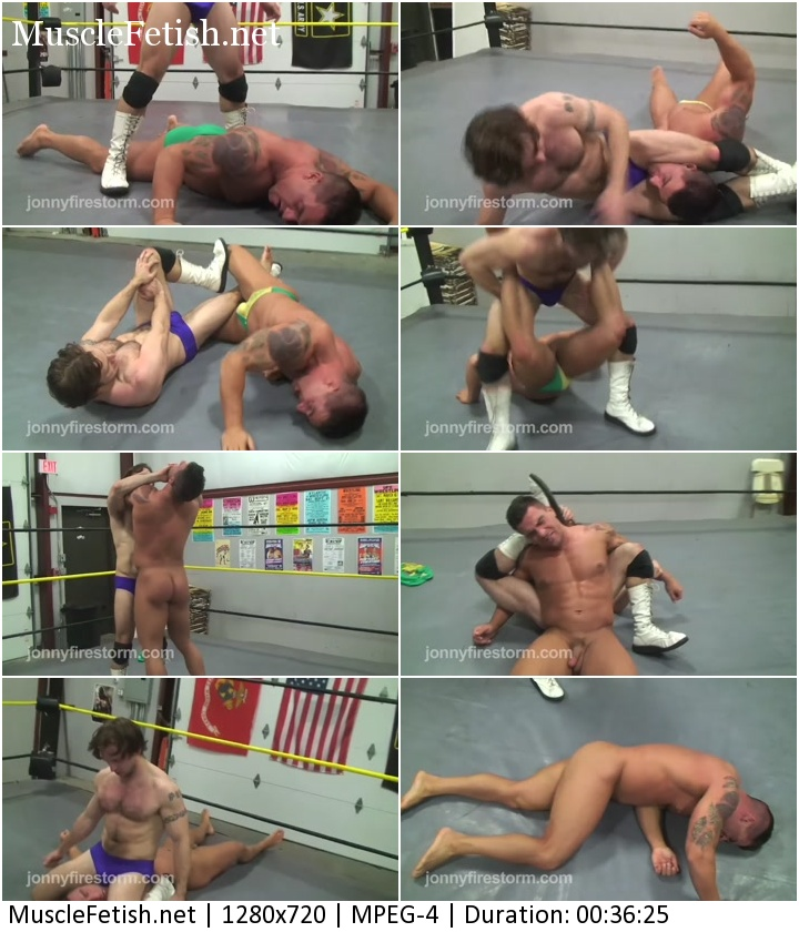Braden Charron Vs Johnny - sexy match of two wrestlers.