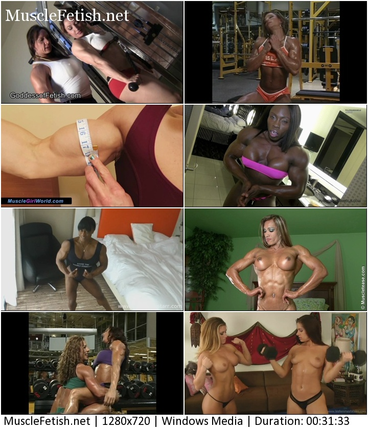 Compilation video about Female Bodybuilders, fitness girls posing, flexing, with some nudity and handjob