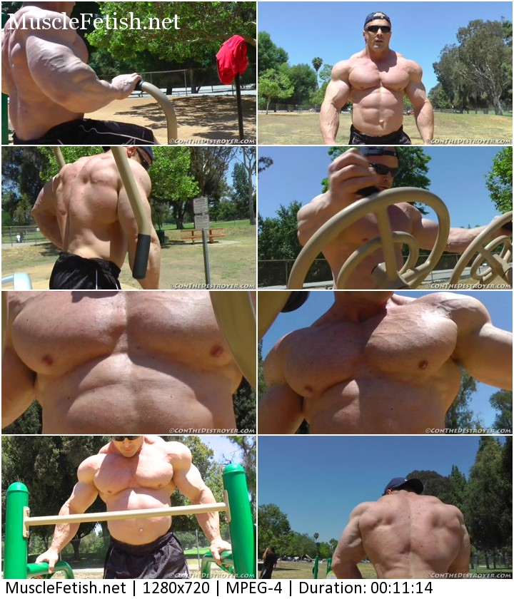 Con Demetrious working out in a public park