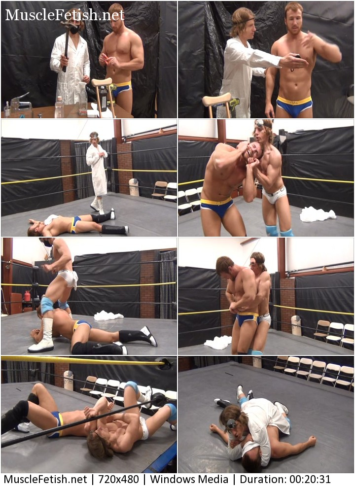 Dr. Lon DuMont vs. Austin Cooper wrestle in a ring