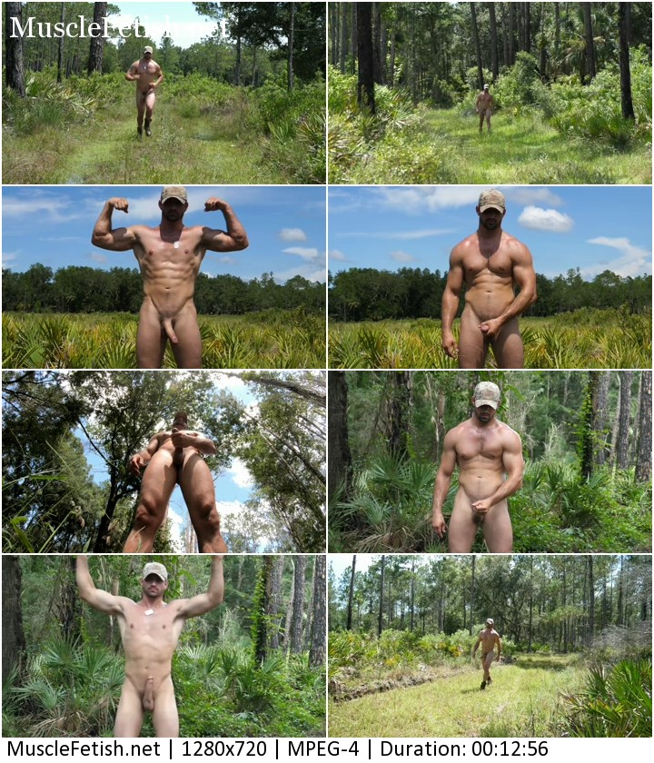 Ex muscle USMC Jason posing posing nude in the woods.