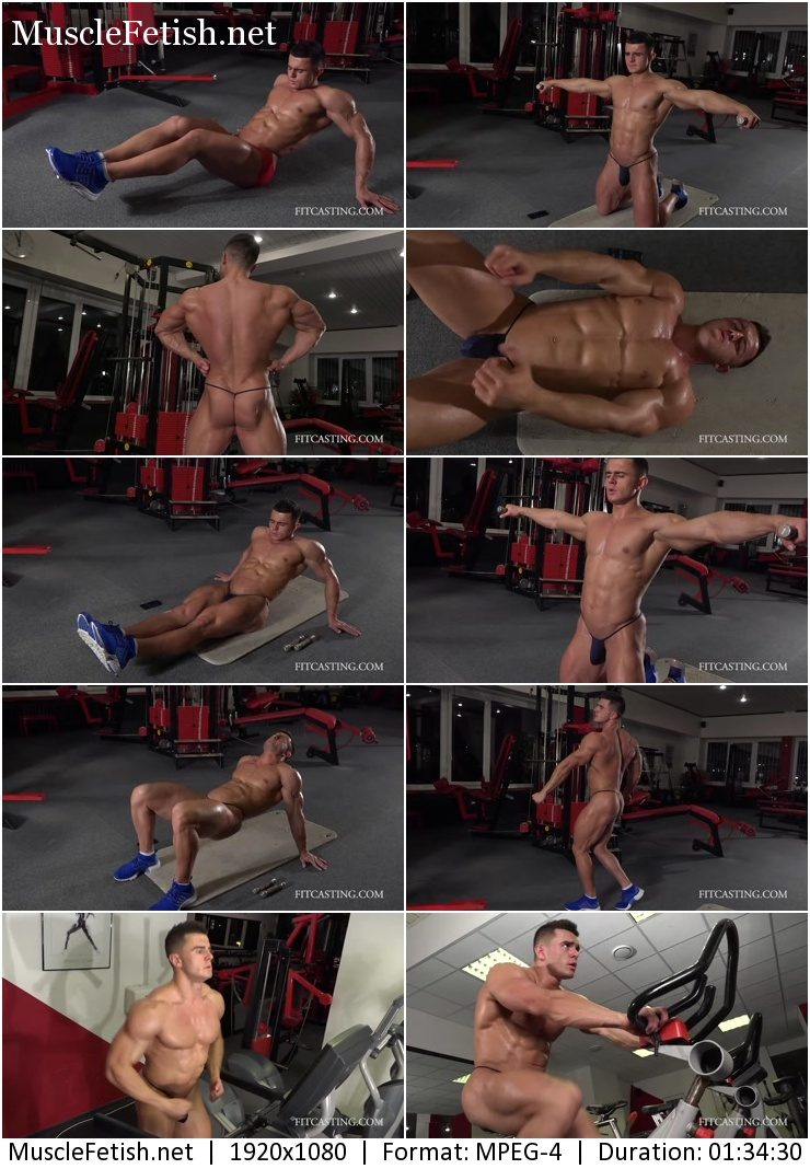 Fitcasting - muscle model Mikhail - black string pouch workout 12