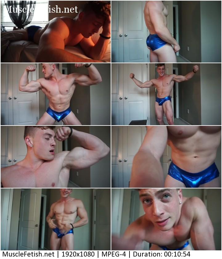 Fitness model Caleb Sky bedtime flexing - erotic male posing