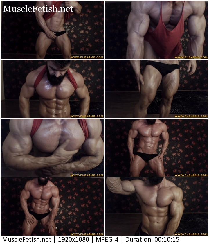 Flex4Me video - Massive bodybuilder - Oil up