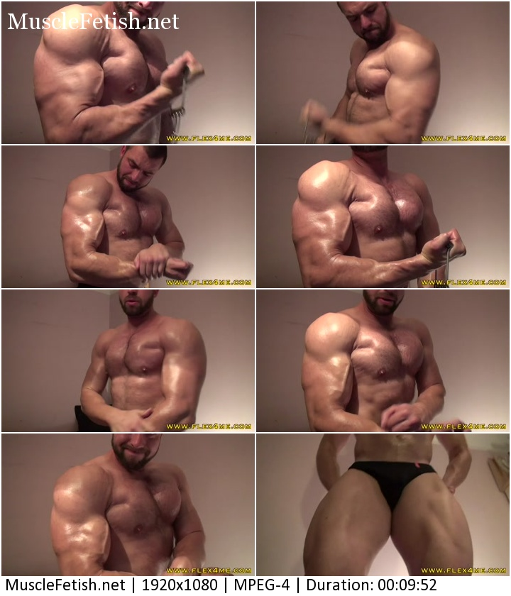 Flex4me video - Pumping and oiling up - Tim - Bodybuilder Tihomir Rangelov - Photoshoot
