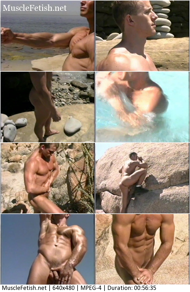 Four naked, handsome bodybuilders: David Mahoney, Jody Clark, Mark Olson and Derek Russo stroll a wild beach