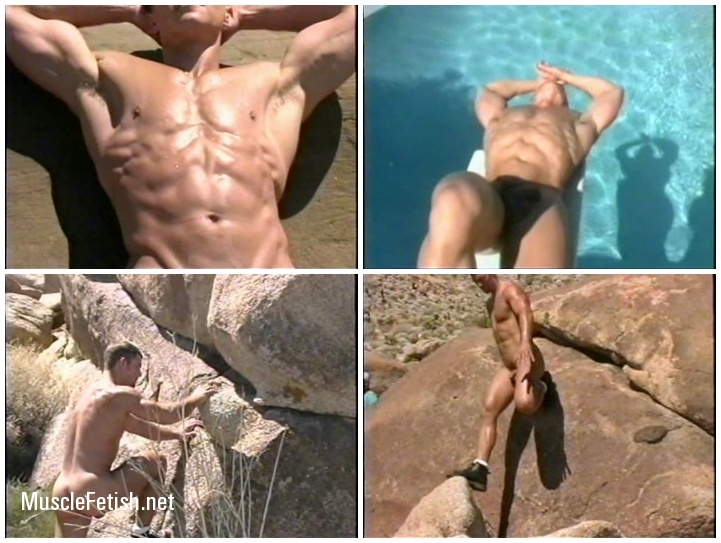 Four naked, handsome bodybuilders: David Mahoney, Jody Clark, Mark Olson and Derek Russo