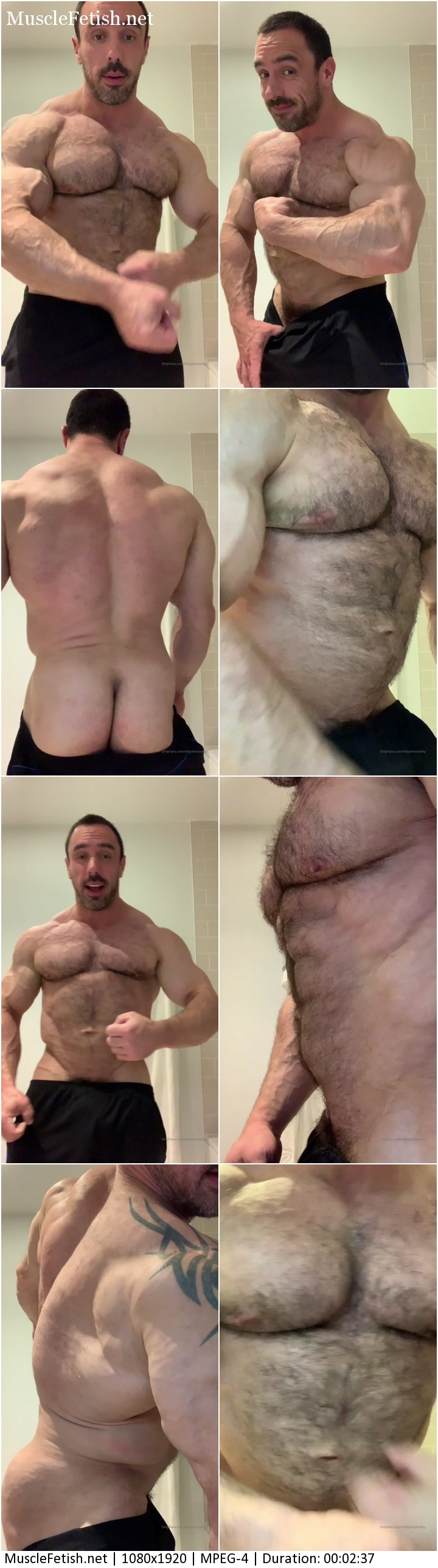 Hairy bodybuilder Johnny posing on an amateur cam