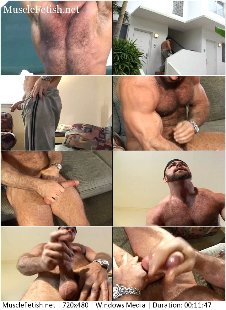 Hairy bodybuilder Trent Fosters showing his big attributes.
