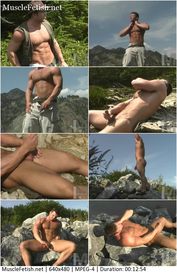 Hairy muscle bear Dayden Pierce jerking off in the mountains