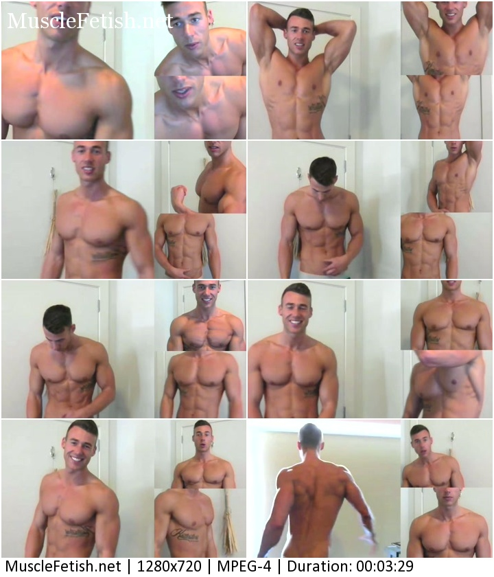 Handsome muscular boy Deorio Flex posing on cam (musical collage)