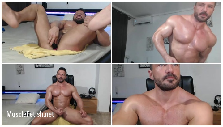Hot Muscle Man from Chaturbate - Dildo and Cum