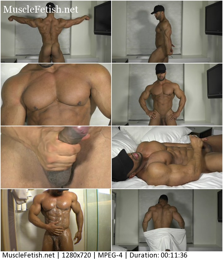 Hot bodybuilder named Titan from TheGuySite flexing and jerking off