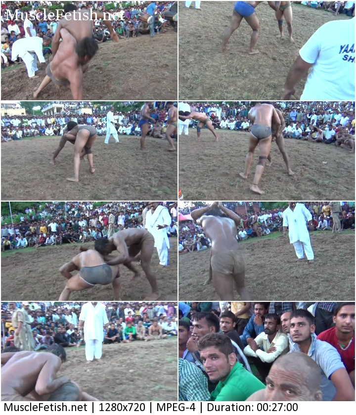 Indian male wrestling in dirt - Sunil vs Jammu - public wrestling
