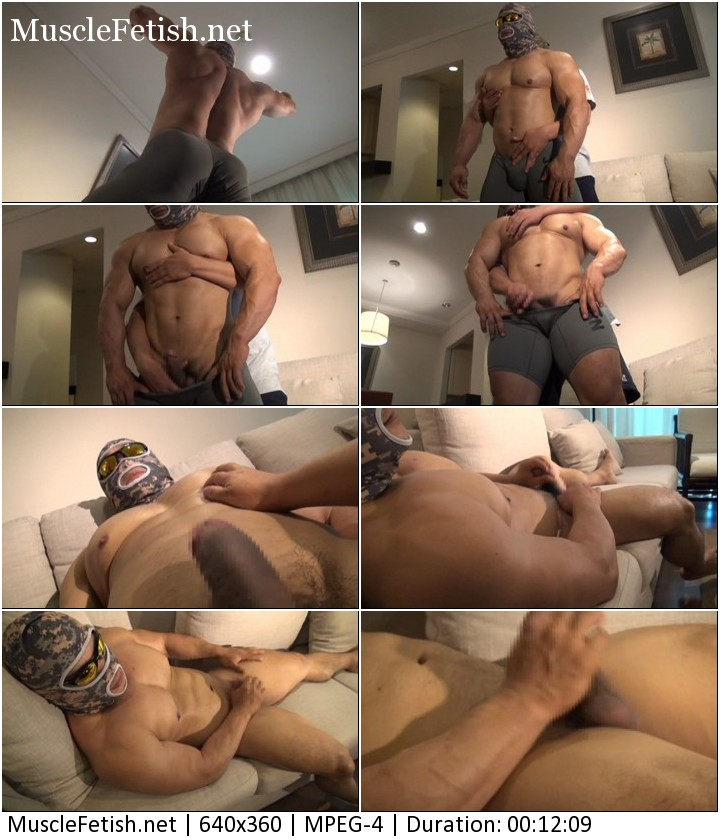 Japanese bodybuilder guy in military camouflage - muscle and cock worship