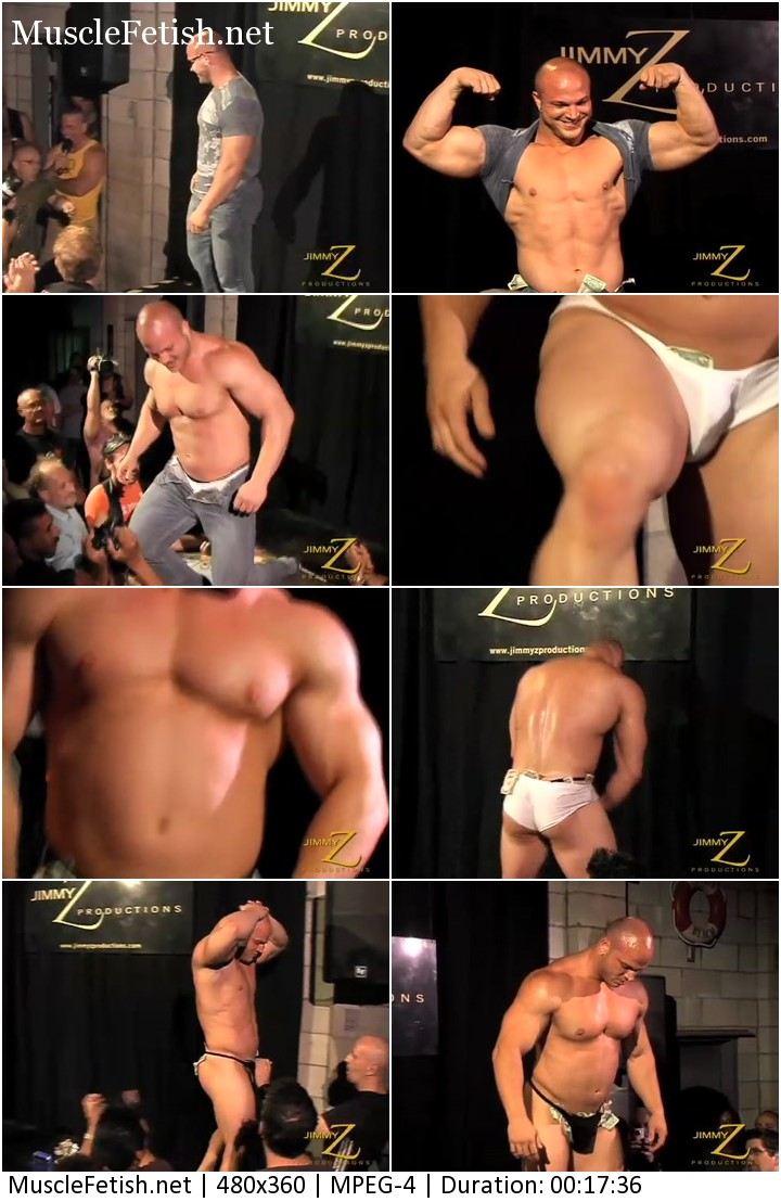 JimmyZ video - bodybuilder Kyle Stevens showing striptease