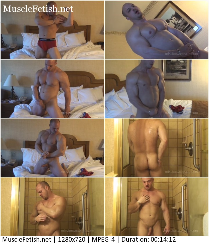 Kyle Stevens from Mission4Muscle show muscle cock and athletic body