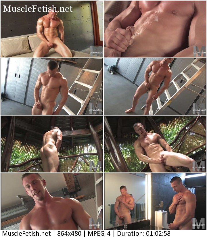 Nude muscle model Liam Markham from LegendMen video. As he jerks his muscle cock springs up erect.