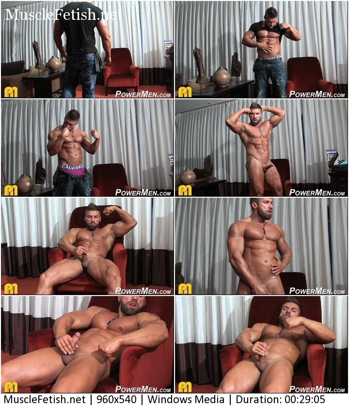Bodybuilder from PowerMen Lucas Diangelo flexes and cums on cam