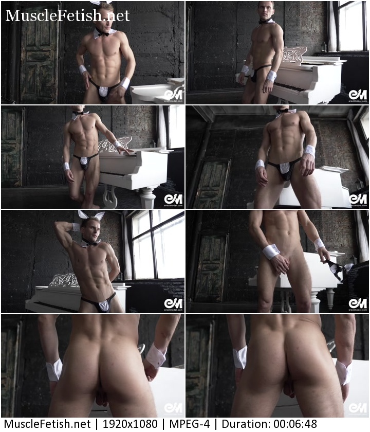 Male stripper athletic build posing and dance in a erotic bunny costume - video from Erectmodel