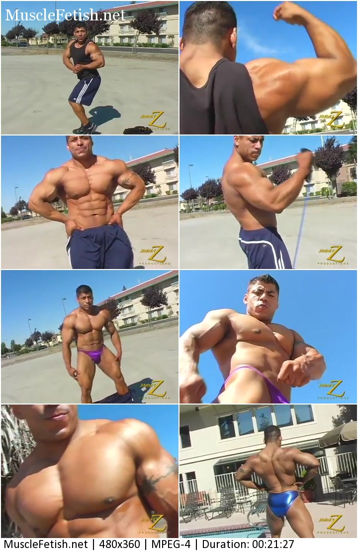 Massive Latino bodybuilder Rico with beautiful dark skin