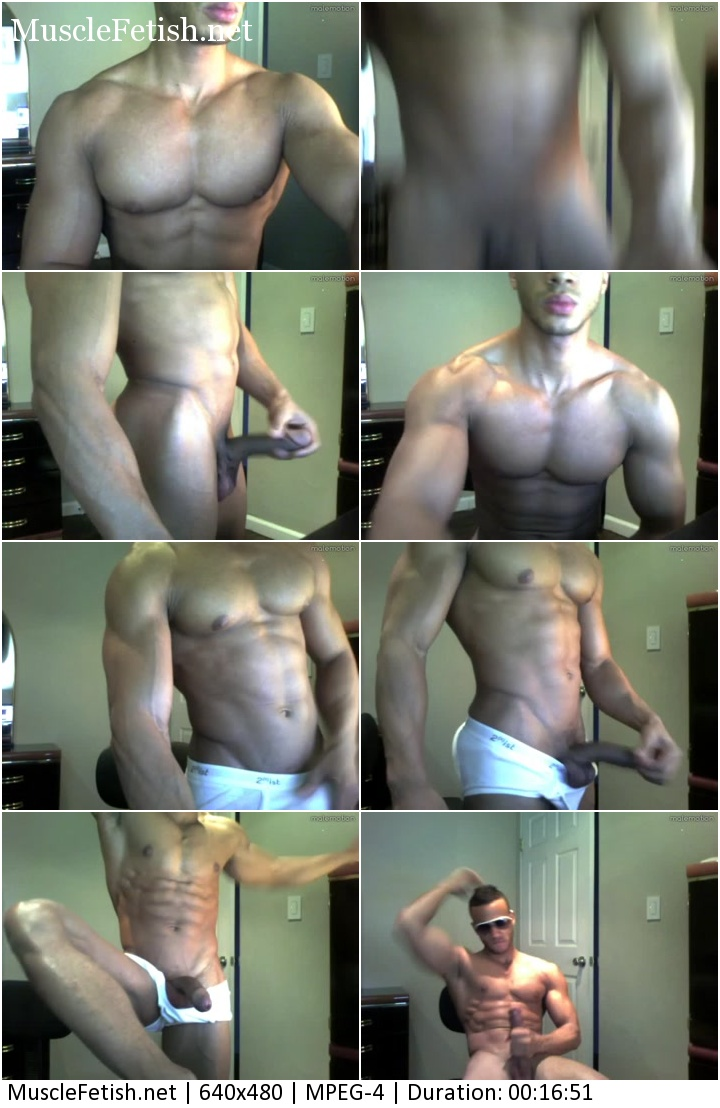 Massive muscle with big dick - Huge black muscle man posing on cam