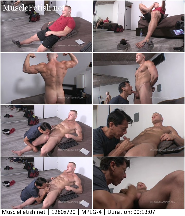 Military classified bodybuilder Scottie - 220 pounds of solid muscle with a 6 inch cock