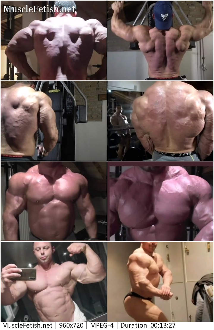 Muscle athlete Vecchi Mattia flexing big pecs