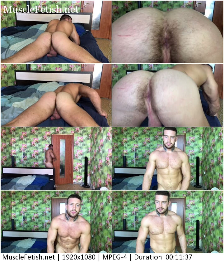 Muscle boy with a hairy asshole posing on cam.