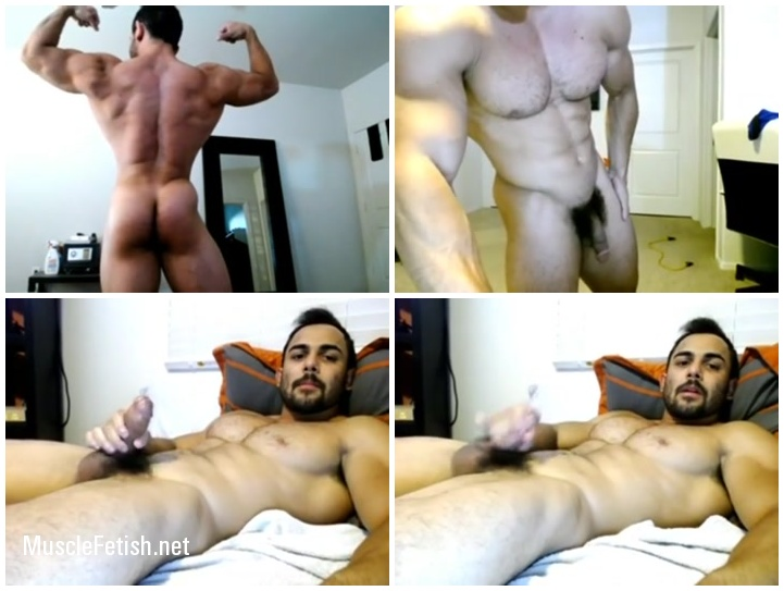 Muscle guy Benji jerking off on cam