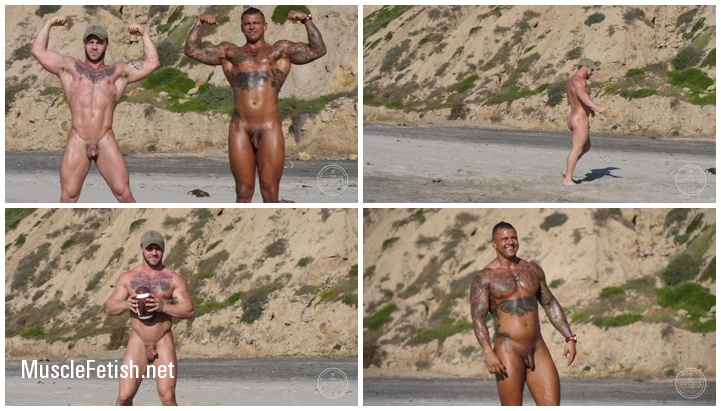 Muscle men nude beach - male models Seth and Bane