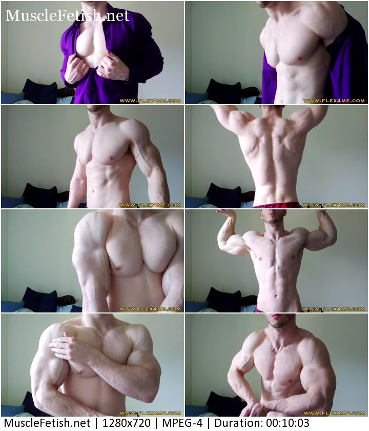 Muscle model Zack from Flex4Me - Shirt tease and biceps flexing on cam