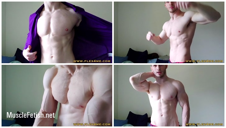 Muscle model Zack from Flex4Me - Shirt tease and biceps flexing